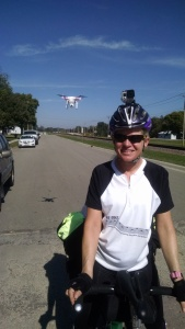 Tracy with a drone following her