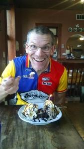 Peter enjoying his birthday Brownie Sundae